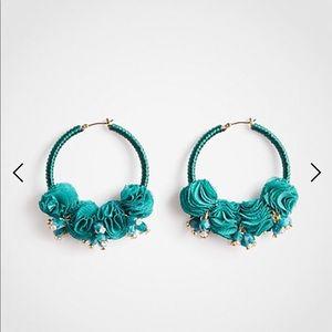 Ann Taylor Pom Pom hoop earring